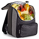 VonShef 18L Cooler Backpack - Lightweight Soft Insulated Picnic Cooler Bag - Grey