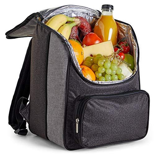 VonShef 18L Kühler-Rucksack | Isolierte Reißverschluss-Picknicktasche mit Gepolsterten Schulterträgern Ideal für Einschließlich Picknick, Camping, Garten, Wandern, Park -
