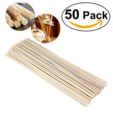 NUOLUX 50pcs Wood Oil Diffuser Replacement Rattan Reed Sticks