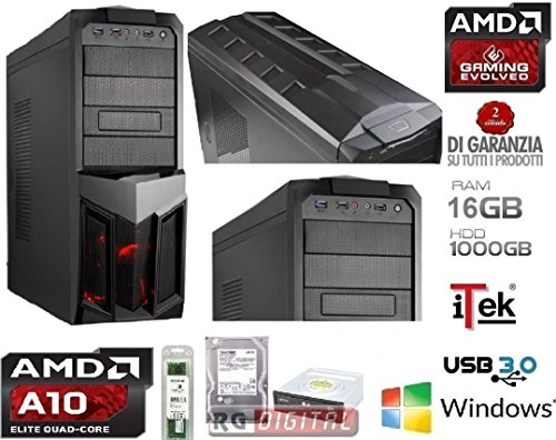 PC DESKTOP GAMING 4.3GHz AMD Quad Core A10 6800K ULTRA VELOCE RAM 16GB , Ufficio, Famiglia, Gamer, Gaming PC Multimedia QUAD CORE AMD A10 6800K 4.3 GHZ ULTRA VELOCE RAM 16GB 1600 MHZ/HD 1TB SATA III/Scheda grafica integrata AMD Radeon HD 8670D/USCITE HDMI,VGA,DVI, USB 2.0 3.0 iTeK PLANET COMPLETO