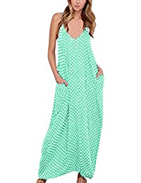 ZANZEA Boho Sexy Femme Sans Manches Col V Lâce Robe Longue Maxi à Bretelle de Plage Party Cocktail