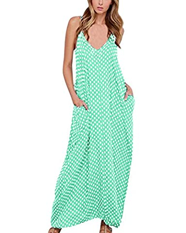 ZANZEA Boho Sexy Femme Sans Manches Col V Lâce Robe Longue Maxi à Bretelle de Plage Party Cocktail Vert EU 52/ US 22W UK 24
