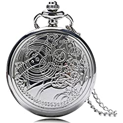 "DR WHO Polished Silver Finish Retro/Vintage Case Full Hunter Mens/Boys Quartz Pocket Watch Necklace - On 32"" Inch / 80cm Chain"