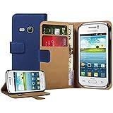 Membrane - Azul Cartera Funda Carcasa para Samsung Galaxy Young (GT-S6310 / S6312 Duos / Dual / S6310L / S6310N) - Flip Case Cover + 2 Protectores de Pantalla