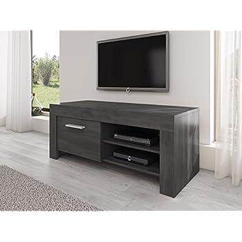 TV Möbel Ständer Schrank Fernsehtisch Fernsehschrank Rome 120 Cm Schwarz  Eiche