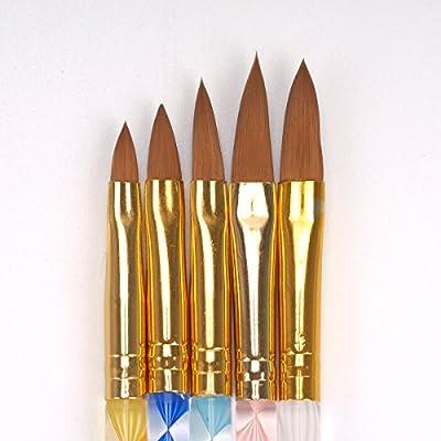 5 Pcs Round Sable Acrylic Nail Art UV Gel Brush Size 4 6 8 10 12 Set VOSO