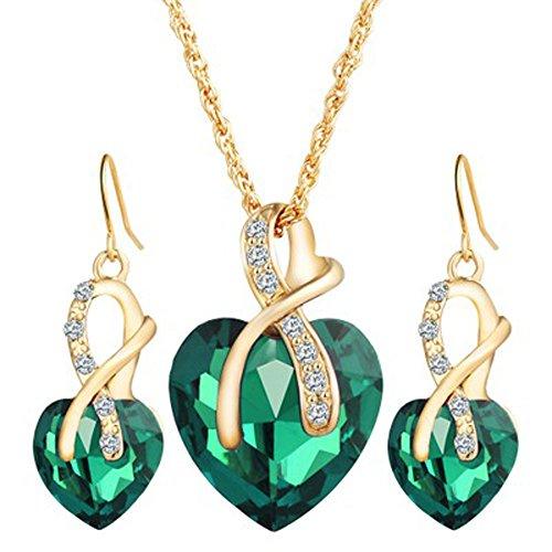 Lazzboy Muttertag Schmuck Sets für Frauen Kristallherz Halskette EarringsWedding(Grün)