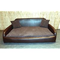Zippy Faux Leather Sofa Pet Dog Bed - Extra Large - Brown & Brown Jumbo Cord