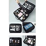 LIBWX LIBWX Make up Bag, Makeup Case wasserdicht Detachable Organizer Toilette für Männer Frauen, entfernbare Adjustable Divider,Black,L