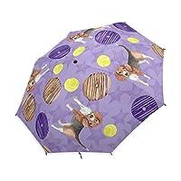 UHONEY Compact Folding Umbrella,Cute Puppy Dog Beagles Donuts Balls Pattern,Easy Carrying Travel Rain Umbrella