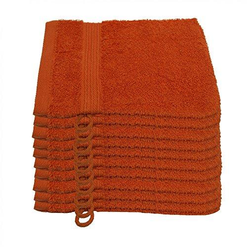 Julie Julsen 10er Pack Waschlappen 29 Farben erhältlich weich und saugstark 500gsm Öko Tex Terrakotta 15 x 21 cm B-Ware