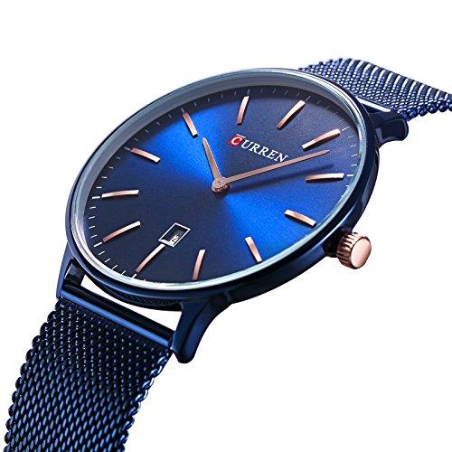 TREEWETO Herren Uhr Analog Quarz Edelstahl Milanaise Armband mit Datumsanzeige Dünn Blau