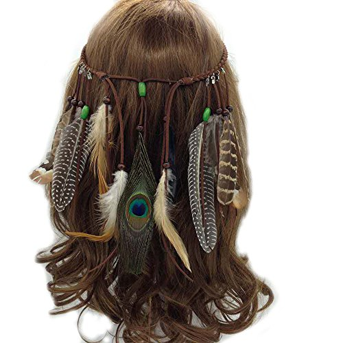 MIGUOR Headband Feather Headband Women girls Indiana Peacock Feather Headpiece with Bead Braided Hair Fancy Headpieces Gifts - Indiana-girl