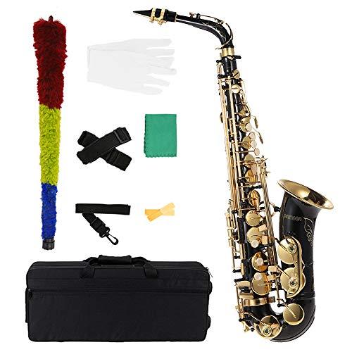 ammoon Saxphone Messing lackiert Gold E Flat Altsax 82Z Schlüssel Typ Holzblasinstrument mit Reinigung Pinsel Tuch Handschuhe Cork Grease Strap Padded Fall