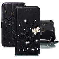 JJWYD Funda para Samsung Galaxy A20E, Brillo Billetera Libro PU Cuero Bling Diamante Mariposa Diseño Carcasa Soporte Plegable Ranuras para Tarjetas Cierre Magnético Funda - Negro