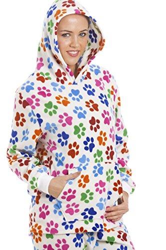 Camille - Pyjama long à capuche pour femme - polaire - motif pattes de chien - blanc/multicolore Blanc