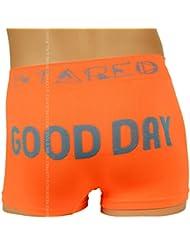 Boxer Fantaisie Homme, Orange et Bleu, Good Day