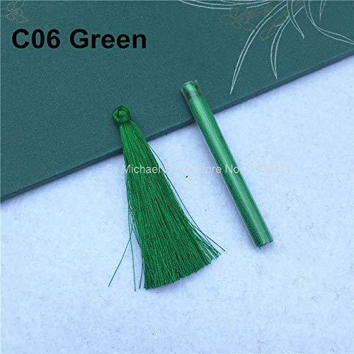 AiCheaX 5 teile/beutel 65 MM 28 Farben Rayon Handgemachte Quasten DIY für Kleidung Schmuck Ohrringe Kleidungsstück Vorhang Dekoration Zubehör - (Farbe: 6 Hellgrün) -