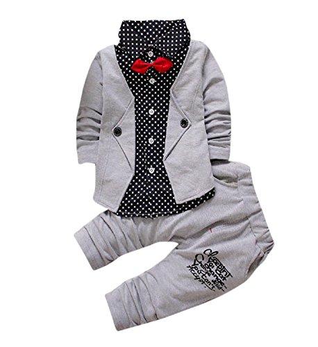 Trada Baby Boy Gentry Kleiner Anzug Kleider Set Smokings Formale Partei Taufe Hochzeit Bogen Anzug (12 Monate Alt, Grau) (Bogen Blazer)