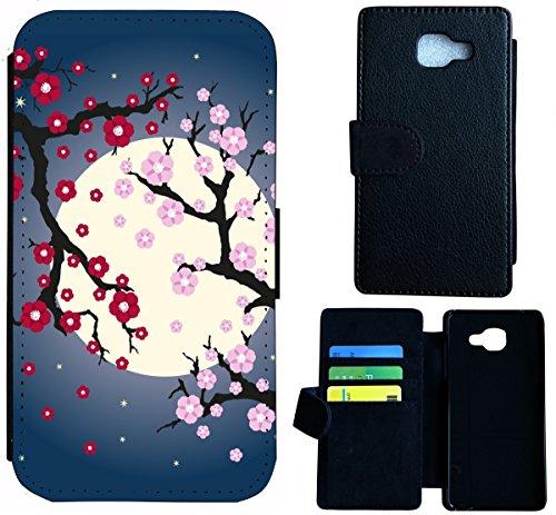 Flip Cover Schutz Hülle Handy Tasche Etui Case für (Apple iPhone 5 / 5s, 1543 Delfin Delphine Meer Cartoon Sonne) 1547 Blüten Mond Cartoon Abstract