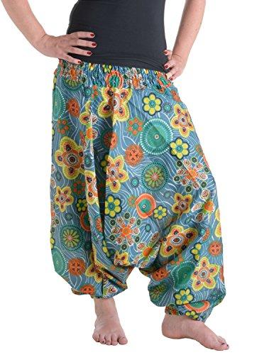 Vishes - Alternative Bekleidung Alternative Bekleidung - Weite Hippie Pluderhose aus Baumwolle mit Blumen türkis Einheitsgröße 34 bis 42