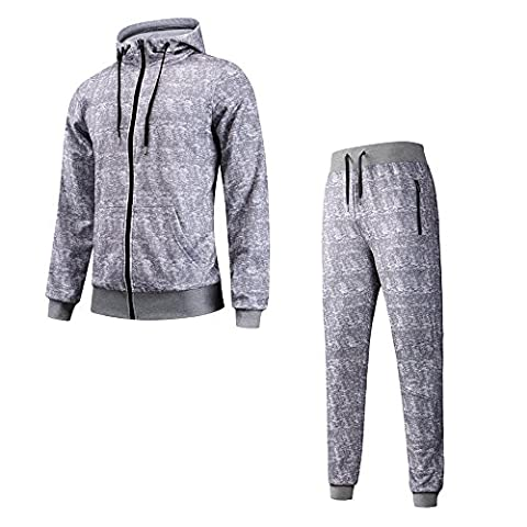 YCX Men's Lightweight 2-Piece Zip up Long Sleeve Printed Hooded