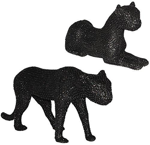 2 Stück: sehr edel - Panther / Leopard / Jaguar - groß - mit Glitzer Steinen - Pailetten - schwarz glänzend - schimmert wunderschön im Licht - große Figur / Statue - sitzend / stehend - Tier - Tierfigur - Panter Zootier - dunkel - asiatisch