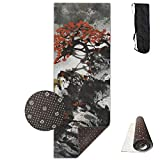 Roue Yoga Mat Non Slip Beautiful Tree Printed 24 X 71 Inches Premium for Fitness Exercise Pilates with Carrying Strap