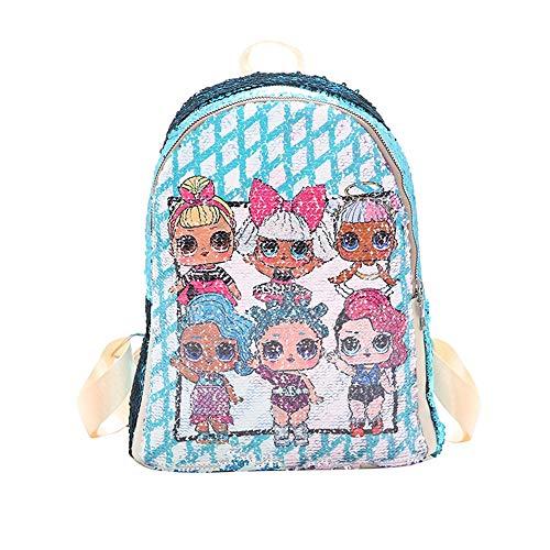 AXIN Überraschungspuppe Kinderrucksack doppelseitige Pailletten Rucksack lässig Tasche für 3-8 Jahre alte Kinder,003