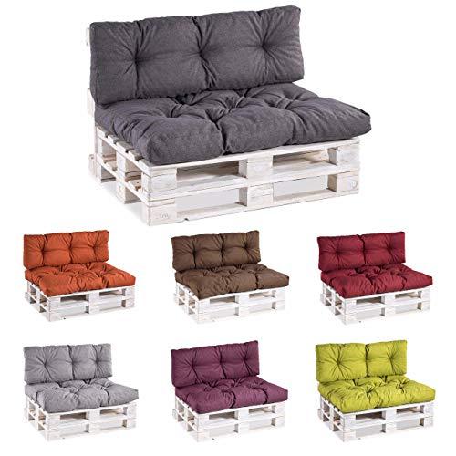 Coussins pour palettes, siège, appui, mousse, matelassée PP Set (Siège 120x80 + Appui 120x40, Gris)