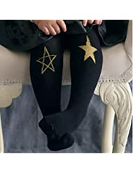 Haodasi Kid Child Boy Girl Tights Baby Bebé Arm Leg Warmers Cat Printed Pants Trousers Black Star M For Age 4-6Years