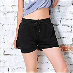 Pantalones cortos de fitness para mujer de Hippolo, para yoga, forrados y con efecto doble pieza, color Negro , tamaño medium