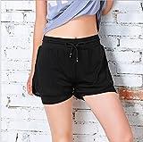 Hippolo Frauen-Fitness-Shorts Yoga-Kleidung gefüttert anti-entleerte doppelte gefälschte zweiteilige Laufhose (S, schwarz)