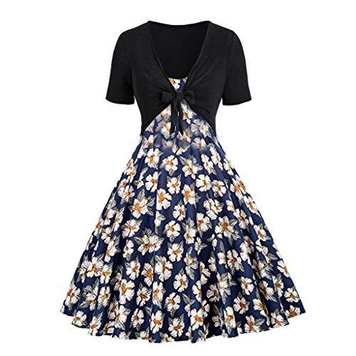 Cocktailkleid Festliche Elegante Kleider 50er Jahre Rockabilly Faltenrock Festliches Partykleider Vintage Kleid Audrey Hepburn Sommerkleider Knielang A-Line ()