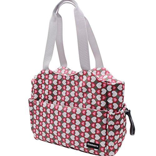 Damero Große Wickeltasche Wasserdichte Handtasche Windeltasche mit Wickelauflage und Stroller Hooks (Grau Punkt) Süß Herz