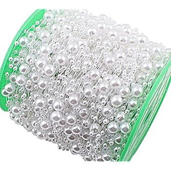 Perlenband Perlen Farbwahl creme weiß Hochzeit Satin 0,60 €//m 10 m Satinband