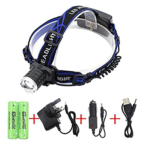Siuyiu 3000 Lumens Super Bright headlamp Waterproof XML-T6 led Zoomable head light headlight With rechargeable battery Adaptors usb charger for biking camping hunting