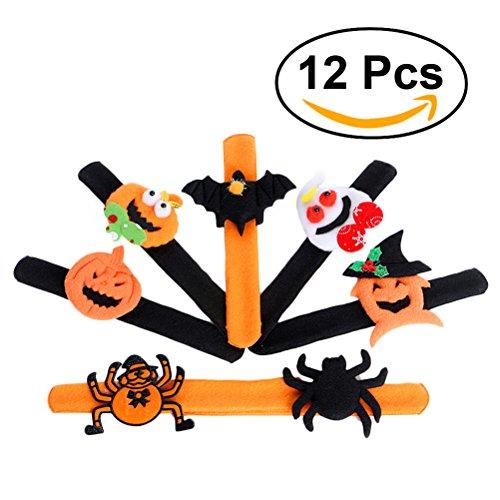 LUOEM Halloween Armband Spinnen Kürbis Klaps Armband Halloween Verschluss Armband für Partei Bevorzugungen 12pcs