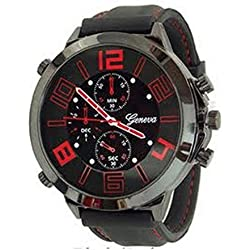 Red Black Silicone Mens Geneva Watch Fashion Designer Oversized Boyfriend