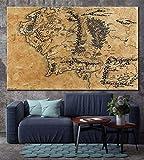 Mapa De La Tierra Media Lona De La Decoración Mapa Película Señor De Los Anillos Mapa Lona Impresiones Mapa Imprimir Decoración For Las Pinturas Inicio Decoración De Lona ( Size (Inch) : 50X75CM )