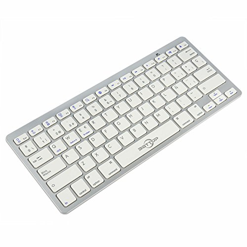BATTOP Teclado de Bluetooth Universal Delgado Apoyo iOS/iPad/Mac/Androis/Windows los Dispositivos Tablet / Smartphone(Plata)