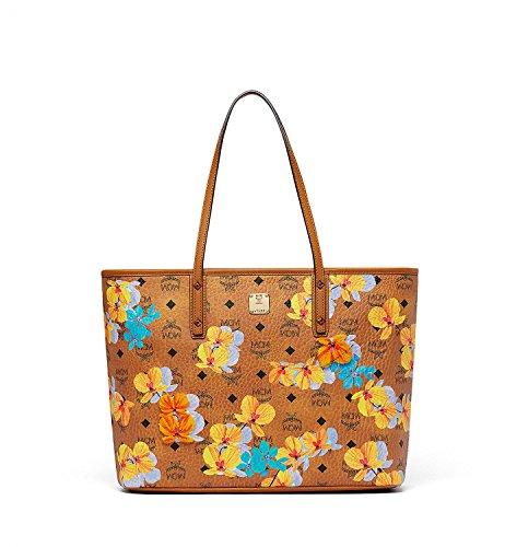 Floral Print Handtaschen (MCM Damen Shopper Essential Floral Print Medium Cognac)