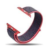 Corki Apple Watch Bracelet 42mm, Bandeau Boucle Sport Nylon Tissé Bracelet de Remplacement pour iWatch Apple Watch Séries 3, Séries 2, Séries 1, Nike+, Édition, Rose Électrique