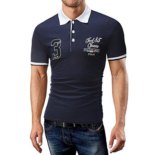 T Shirt Herren, HUIHUI Coole V-Ausschnitt Kurzarm Sweatshirt Slim Fit Basic uv Polo-Shirt Mode Sport Oberteile Oversize Bench Tops Sommer Freizeit Hemd Poloshirt (XXL, Schwarz)