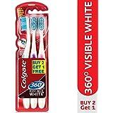 Colgate 360° Visible White Medium Bristle Toothbrush (Buy 2 Get 1 Free)
