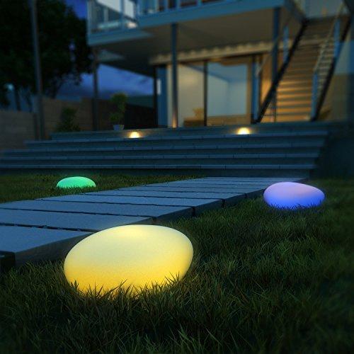 LED Solarleuchten, Kealive Gartenleuchten Kugelleuchte außen mit einem längsten Innendurchmesser von 36 cm, 8 verstellbarer Farben, Wasserdichte Klasse IP67 Solarlampe außen Kieselstein Form für Garten, Hof usw.