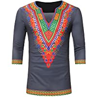 LITTHING Men's African Ethnic Print V-Neck Sleeve T-Shirt