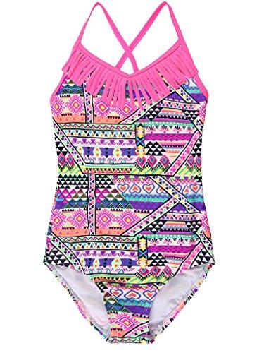 Attraco Mädchen Bunt Einteiler Tribal Rosa Badeanzug Quaste Mehrfarbig Rosa 5-6 Jahre / verschiedene Größen