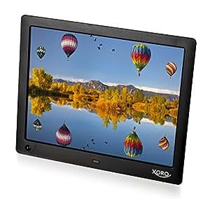 Xoro Cadre photo numérique Écran LED, SD/SDHC/MMC, USB 2.0, Mémoire 8Go, slide show, lecture de vidéo, lecteur MP3intégré, détecteur de mouvement, télécommande Noir