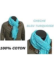 *** PROMOTION *** Chèche Foulard Écharpe - Bleu turquoise - 100% coton